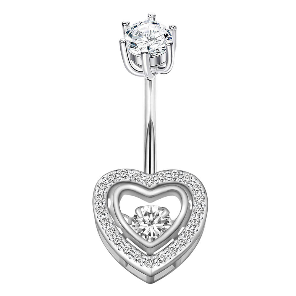 Arardo 14G 925 Sterling Silver CZ Heart Belly Button Rings Navel Rings Piercing Jewelry AB0088-1