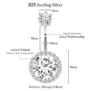 Arardo 14G 925 Sterling Silver Round CZ Belly Button Rings Navel Rings Piercing Jewelry AB0089-1