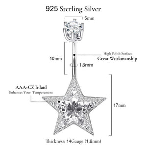 Arardo 14G 925 Sterling Silver CZ Star Belly Button Rings Navel Rings Piercing Jewelry AB0091-1