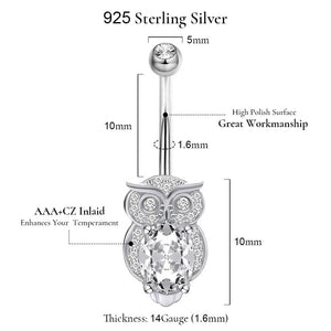 Arardo 14G 925 Sterling Silver CZ Owl Button Rings Navel Rings Piercing Jewelry AB0092-1
