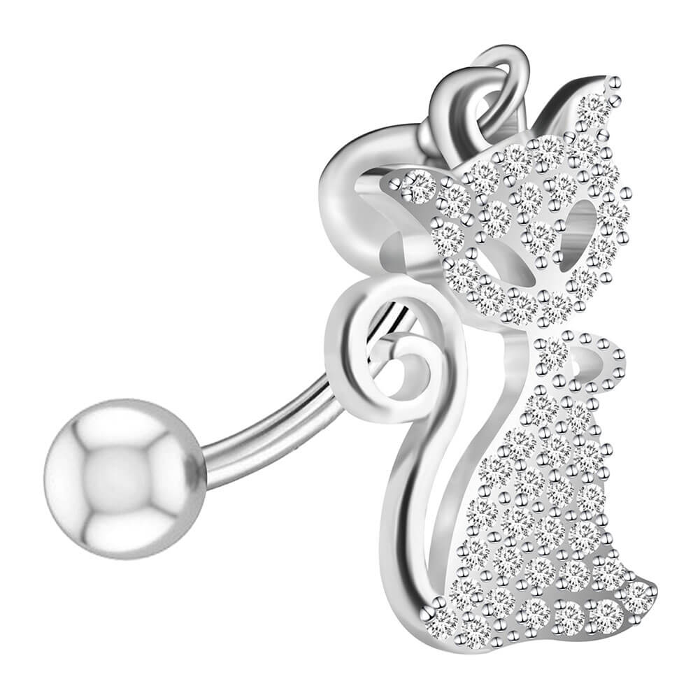 Arardo 14G 925 Sterling Silver CZ Fox Dangle Belly Button Rings Navel Rings Piercing Jewelry AB0093