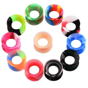 Arardo 22PCS Soft Silicone Ear Gauges Plugs Double Flared Tunnels Flexible Ear Piercing Stretchers Colorful Set Ear Expander Jewelry