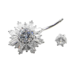Arardo 14G 925 Sterling Silver Flower CZ Belly Button Rings Navel Rings Piercing Jewelry AB0097