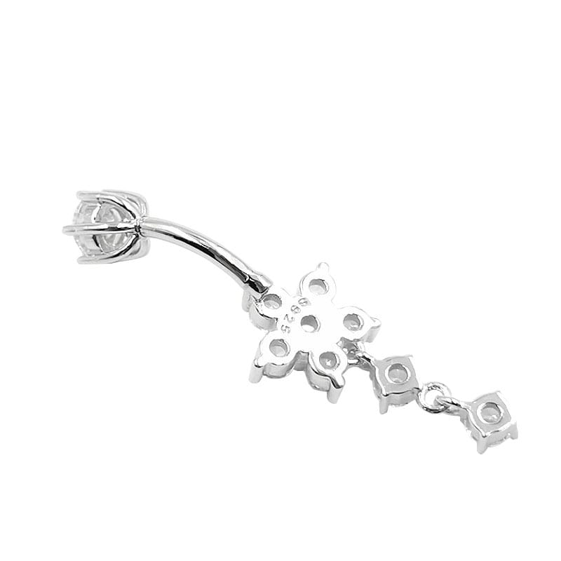 Arardo 14G 925 Sterling Silver Dangle Flower CZ Belly Button Rings Navel Rings Piercing Jewelry AB0099