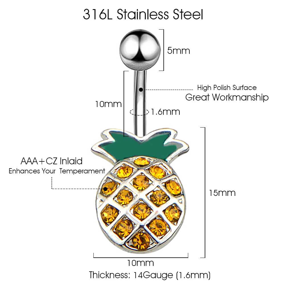 Arardo 316L Stainless Steel 14G Belly Button Rings Pineapple Navel Rings Belly Rings Belly Body Piercing Jewelry