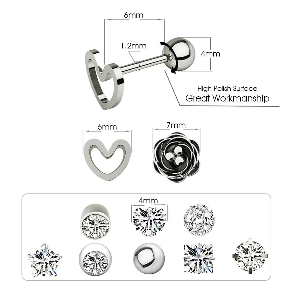 10pcs 16G 316L Stainless Steel Stud CZ Cartilage Earrings Lobe Daith Helix Studs