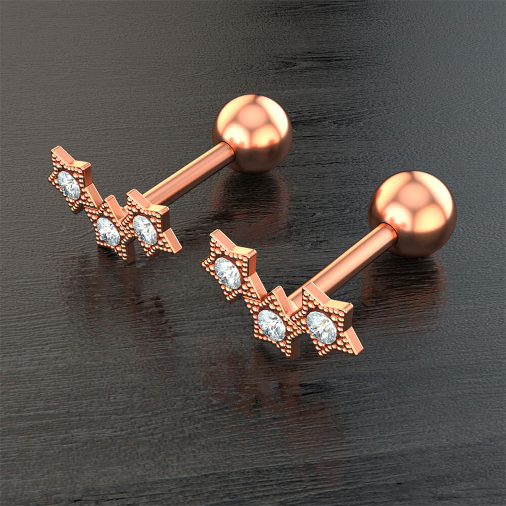 2pcs 16G 316L Stainless Steel Ear Cartilage Earrings Daith Lobe Studs Rings