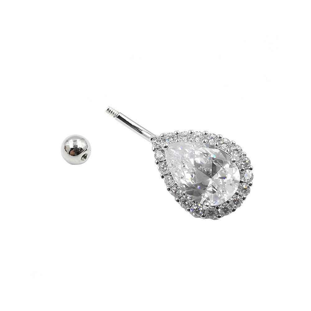 925 Sterling Silver 14G Drop Shape CZ Belly Button Rings Navel Rings Piercing Jewelry AB0121