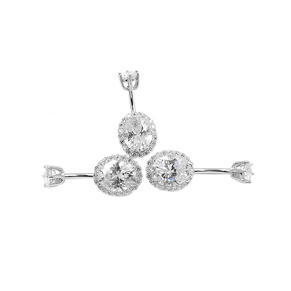 925 Sterling Silver Oval Shape CZ 14G Belly Button Rings Navel Rings Piercing Jewelry AB0122