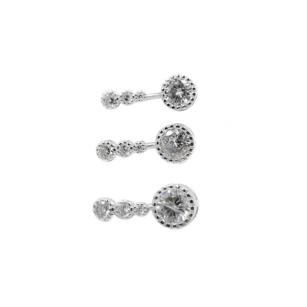 925 Sterling Silver Clear CZ 14G  Belly Button Rings Navel Rings Piercing Jewelry AB0123