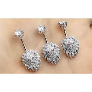 14G 925 Sterling Silver Clear CZ Animal Lion Shape Belly Button Rings Navel Rings AB0125
