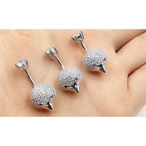 925 Sterling Silver Clear CZ Eagle 14G  Belly Button Rings Navel Rings Piercing Jewelry AB0126