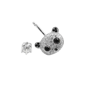 925 Sterling Silver Clear CZ Animal Panda 14G Belly Button Rings Navel Rings Piercing Jewelry AB0127