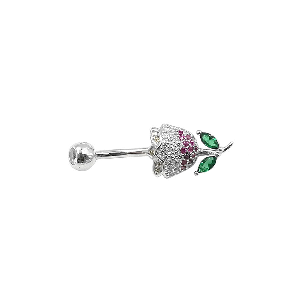 Arardo 925 Sterling Silver Clear CZ Flower 14G Belly Button Rings Navel Rings Piercing Jewelry AB0129