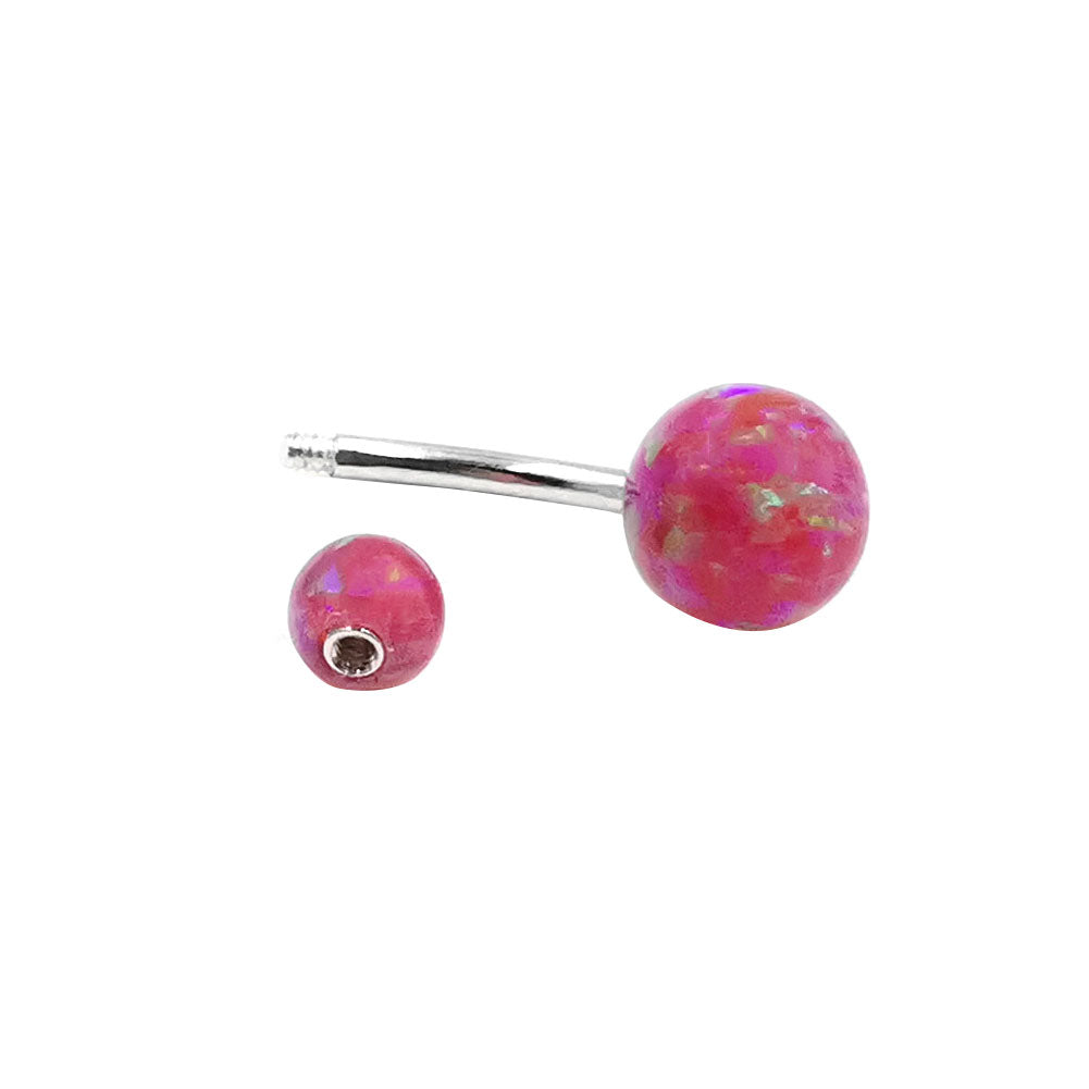 Arardo 925 Sterling Silver 14G Pink Opal Belly Button Rings Navel Rings Belly Rings Belly Body Piercing Jewelry