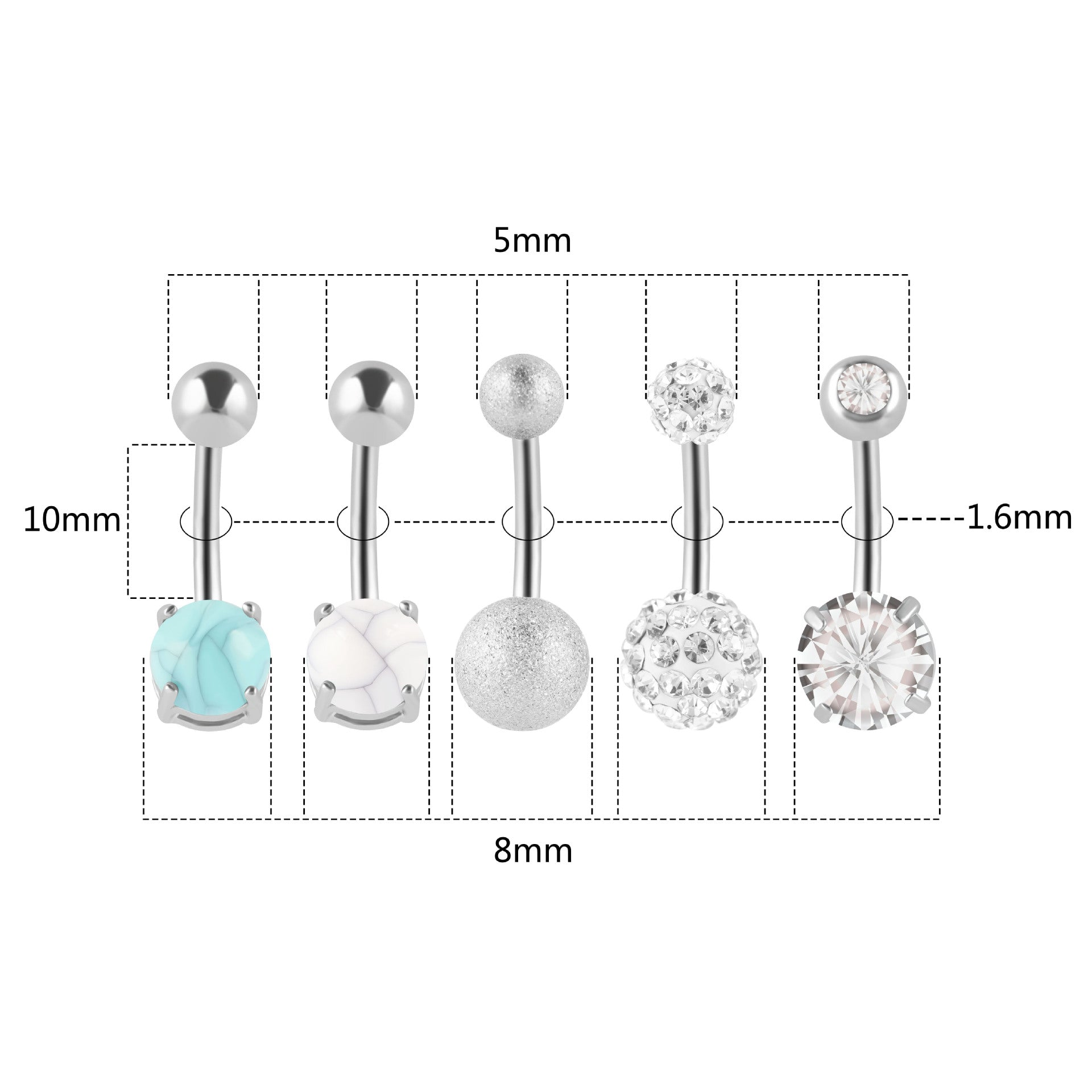 Arardo 10pcs 316L Stainless Steel 14G Belly Button Rings Set Different Styles Navel Rings Belly Rings Belly Body Piercing Jewelry