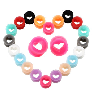 Arardo 20Pcs Colorful Soft Silicone Ear Gauges Plugs Heart Stretching Kit Double Flared Expander Tunnels Body Piercings Jewelry