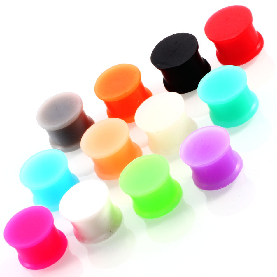 Arardo 24Pcs Colorful Soft Silicone Ear Gauges Plugs Tunnels Stretching Kit Double Flared Expander Tunnels Set Body Piercings Jewelry