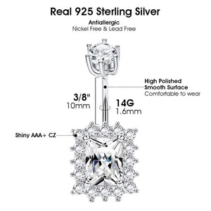 Arardo 925 Sterling Silver 14G Belly Button Rings Navel Rings Belly Rings Belly Body Piercing Jewelry Big CZ AB0140-1