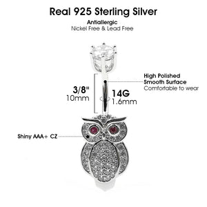 Arardo 925 Sterling Silver 14G Belly Button Rings Navel Rings Belly Rings Belly Body Piercing Jewelry Wise Owl AB0145