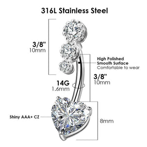 Arardo 316L Stainless Steel 14G Belly Button Rings Set Navel Rings Belly Rings Belly Body Piercing Jewelry BR23