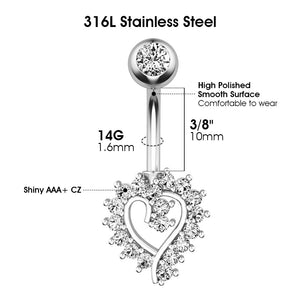 Arardo 316L Stainless Steel 14G Belly Button Rings Set Navel Rings Belly Rings Belly Body Piercing Jewelry BR7