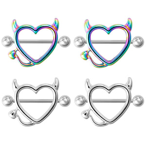 Arardo 2Pairs 14G 316L Stainless Steel Nipple Rings Nipple Piercing Jewelry Devil NR17