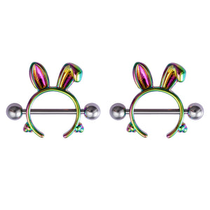 Arardo 2Pairs 14G 316L Stainless Steel Nipple Rings Nipple Piercing Jewelry Rabbit NR15