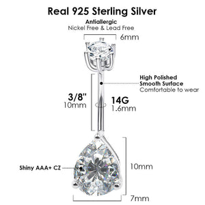 Arardo 925 Sterling Silver 14G Belly Button Rings Navel Rings Belly Rings Belly Body Piercing Jewelry Teardrop Collection SS2
