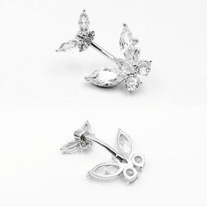 Arardo 925 Sterling Silver 14G Belly Button Rings Navel Rings Belly Rings Belly Body Piercing Jewelry Double Butterfly SS5