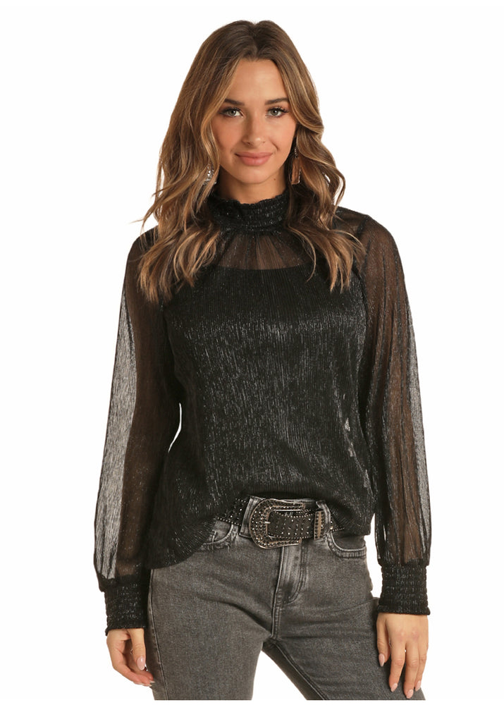 Load image into Gallery viewer, Rock&Roll Black Metallic Mock-Neck Blouse