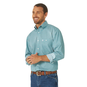 Blue Dotted Men's Wrangler Long Sleeve