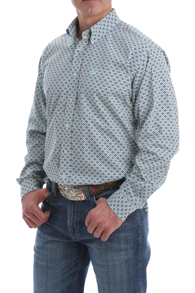 Cinch Light Blue and Navy Diamond Button Down
