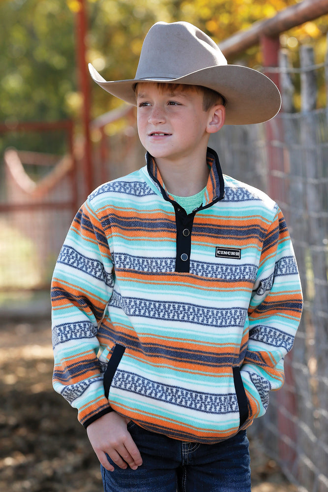 Kid's Orange and Lime Striped Cinch Jacket