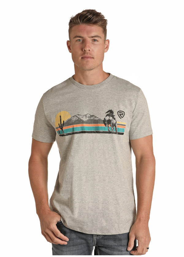Rock&Roll Men's Mountain Scene Graphic Tee
