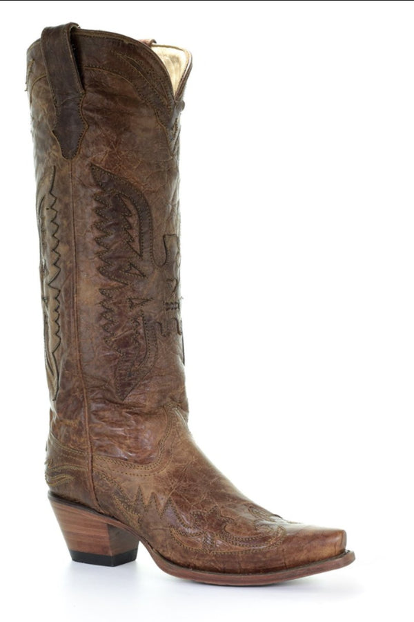 Corral Women's Vintage Brown Eagle Overlay Tall Boot
