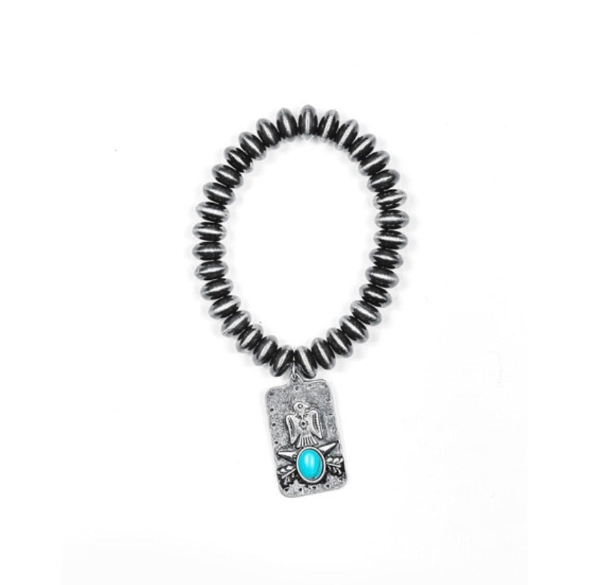 Faux Navajo Disc Pearl Bracelet with Thunderbird Charm