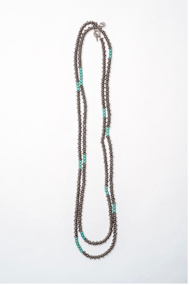 Silver Rondell with Turquoise Necklace