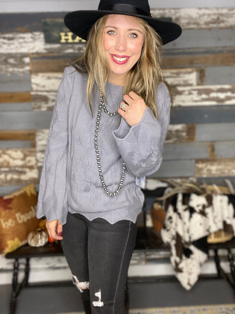 Scalloped Sleeve Gray Rock&Roll Sweater