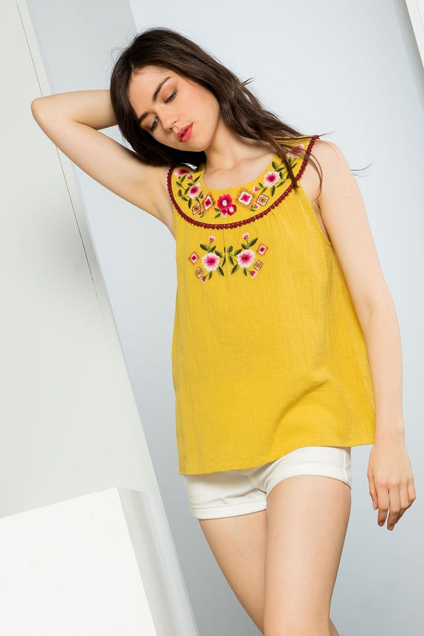 THML Sleeveless Embroidered Top in Mustard