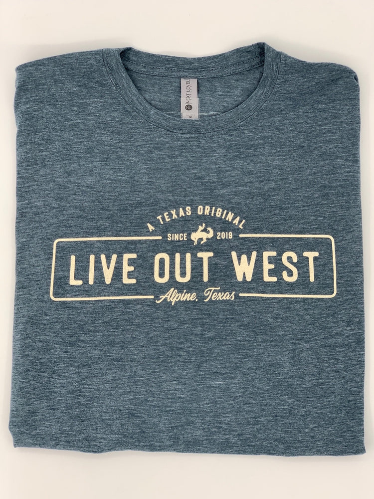 LIVE OUT WEST TSHIRT - Charcoal Blue