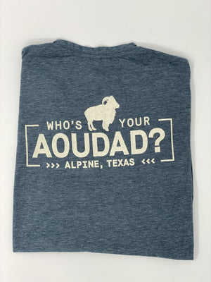 WHO'S YOUR AOUDAD TSHIRT - Rear Logo | Charcoal Blue