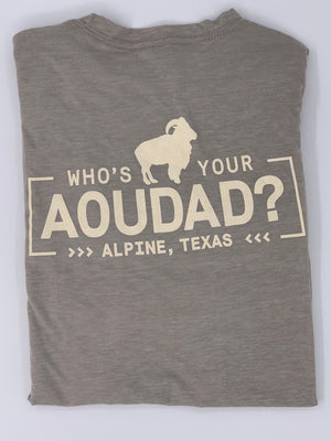 Load image into Gallery viewer, WHO'S YOUR AOUDAD TSHIRT - Rear Logo | Grey