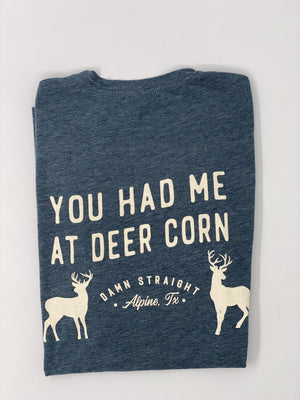 YOU HAD ME AT DEER CORN TSHIRT - Charcoal Blue