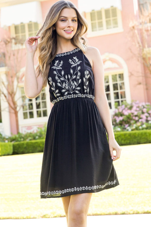 THML Embroidered Halter Dress in Black