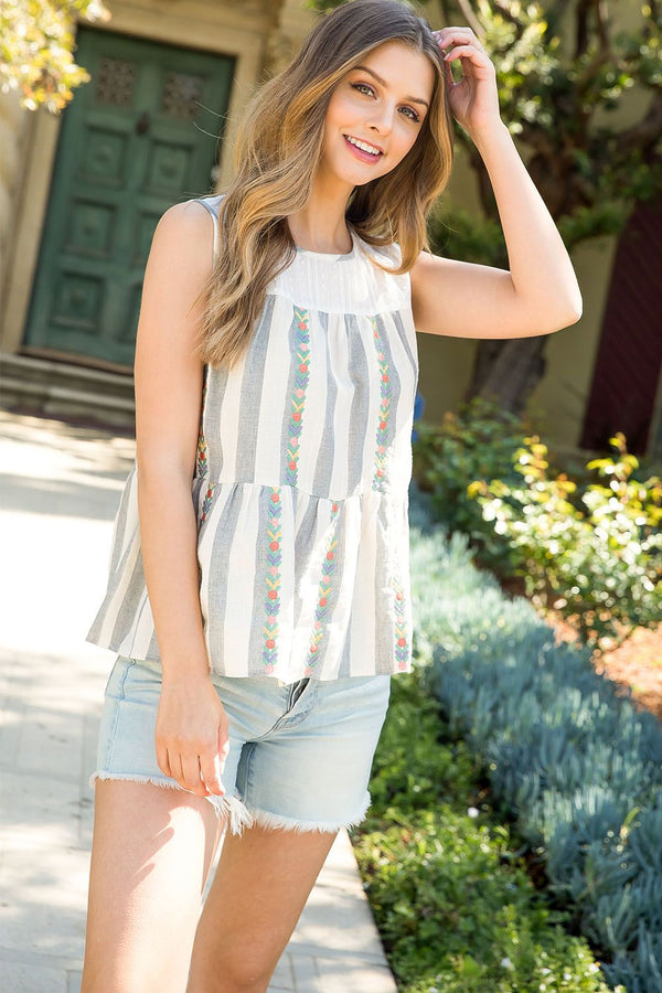 THML Embroidered Stripe Top in Blue