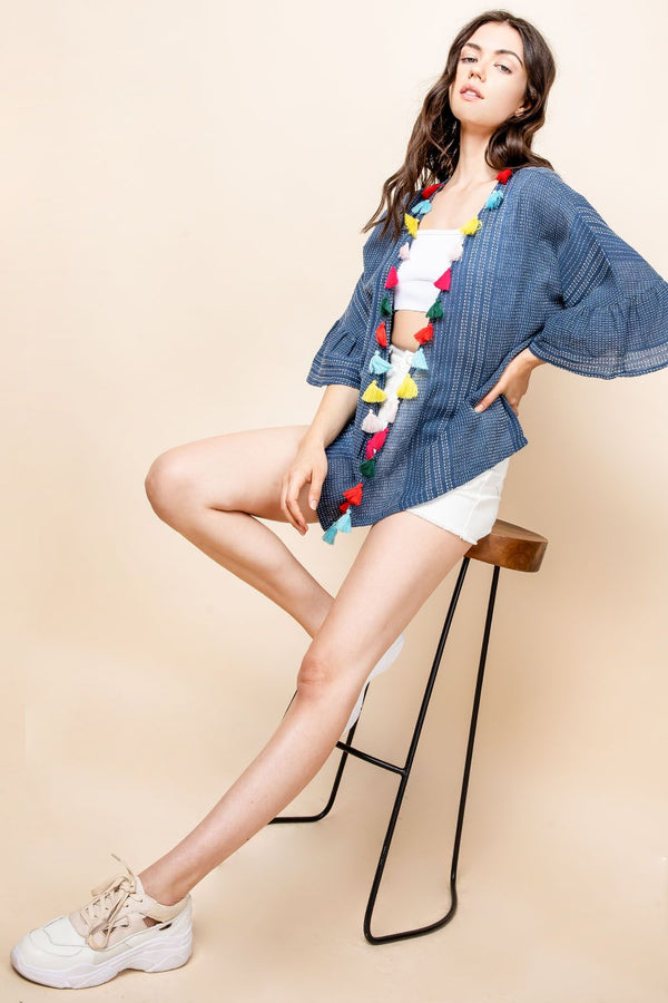 THML Kimono with Tassel Details in Blue
