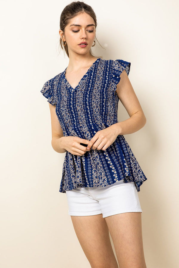 THML Smocked Leaf Top in Blue