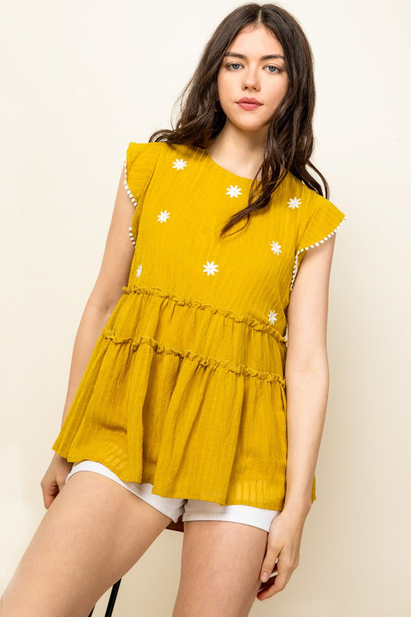 THML Embroidered Tiered Babydoll Top in Mustard