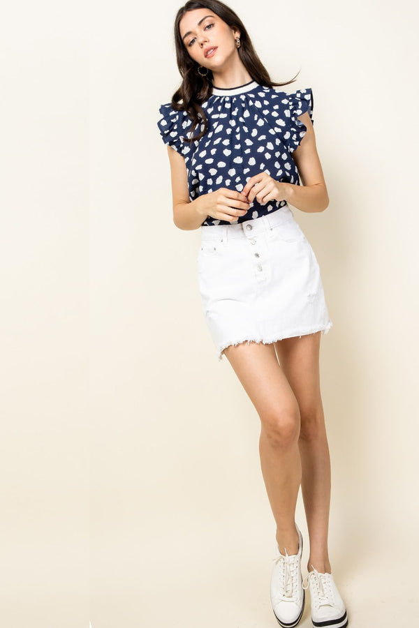 THML Spotted Flutter Sleeve Top in Navy